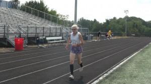 78-year-old Tami Graf runs a 400-meter race at a Masters meet