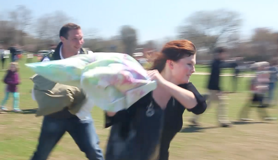 VIDEO: The fight is on! The 8th annual Pillow Fight Day took over Washington Monument Grounds.