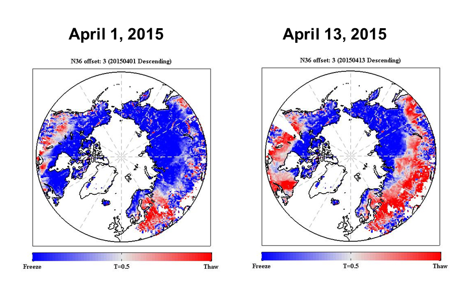 SMAP shows progression of spring thaw in the Northern Hemisphere. Image credit: NASA/JPL-Caltech