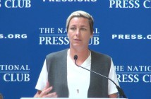 Abby Wambach discusses her retirement and plans for the future at Georgetown University (Angela G. Barnes/Medill).