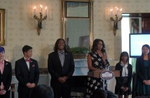 Michelle Obama and the new poetry ambassadors. (Carmen Lopez/ Medill)