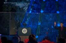 President Obama greets guests at the National Christmas Tree lighting. (Sara Shouhayib/ Medill)