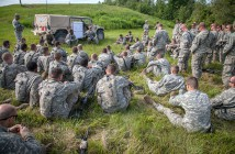 Master Sgt. Kap Kim Observer / controllers with First Army Division East of Fort Dix, N.J., conduct a platoon live-fire exercise after action review at Fort Drum's Range 44 on Friday, with infantrymen assigned to B Company, 2nd Battalion, 108th Infantry Regiment.