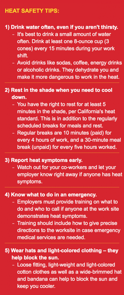 A resource from the 99 Calor website that recommends how to prevent heat illness. Courtesy of 99 Calor, part of OSHA.