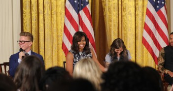 During the Beat the Odds Summit at the White House on July 20, first lady Michelle Obama is joined by YouTube personality Tyler Oakley (left) and a current college student for a panel discussion. (Jenny Lee/MEDILL)