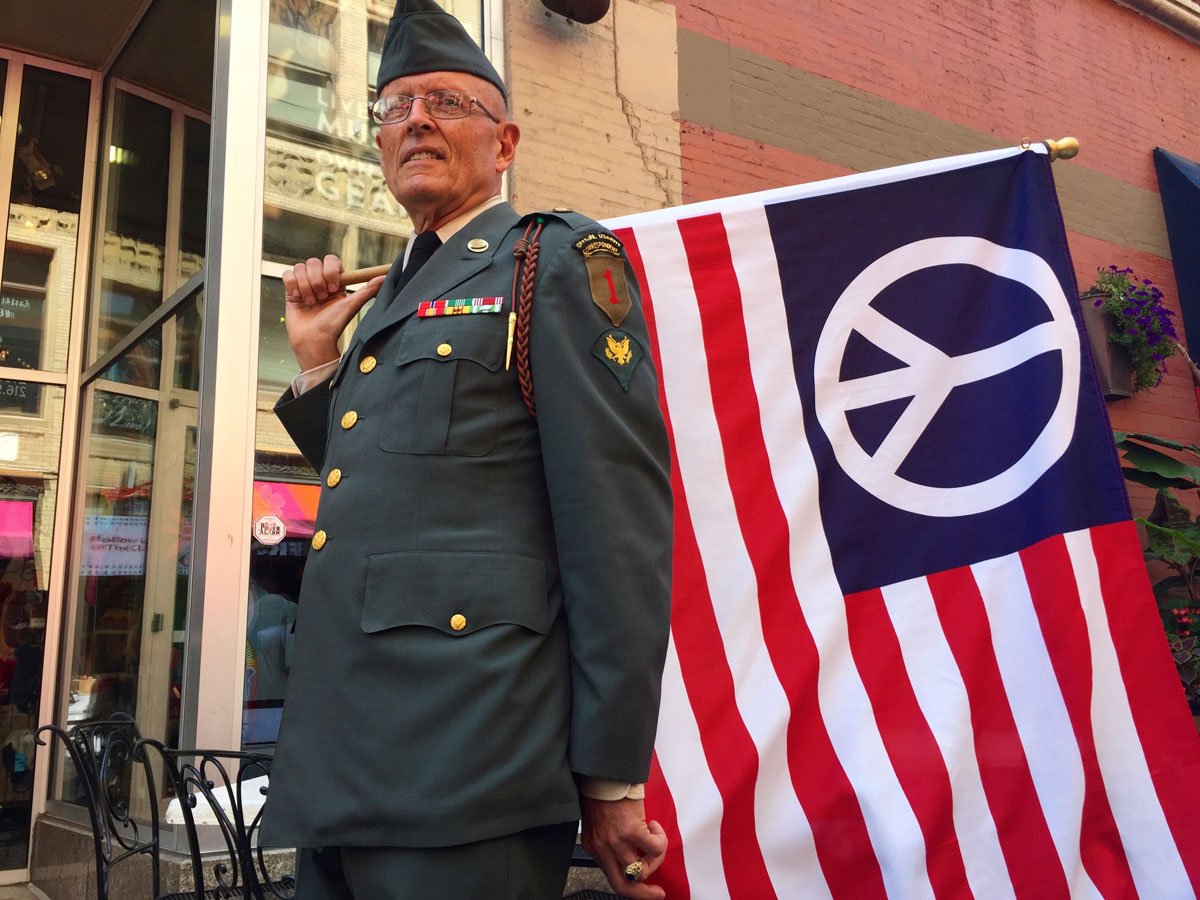 Vietnam War veteran Lou Pumphrey, 73, came to Cleveland to spread a message of peace. (Photo: Michelle R. Martinelli/Special for USA TODAY)