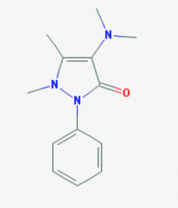 Chemical structure of aminopyrine. Photo courtesy of NIH.
