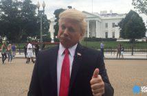 Voice actor John Di Domenico as Donald Trump. (Photo: Aisha Jefferson)