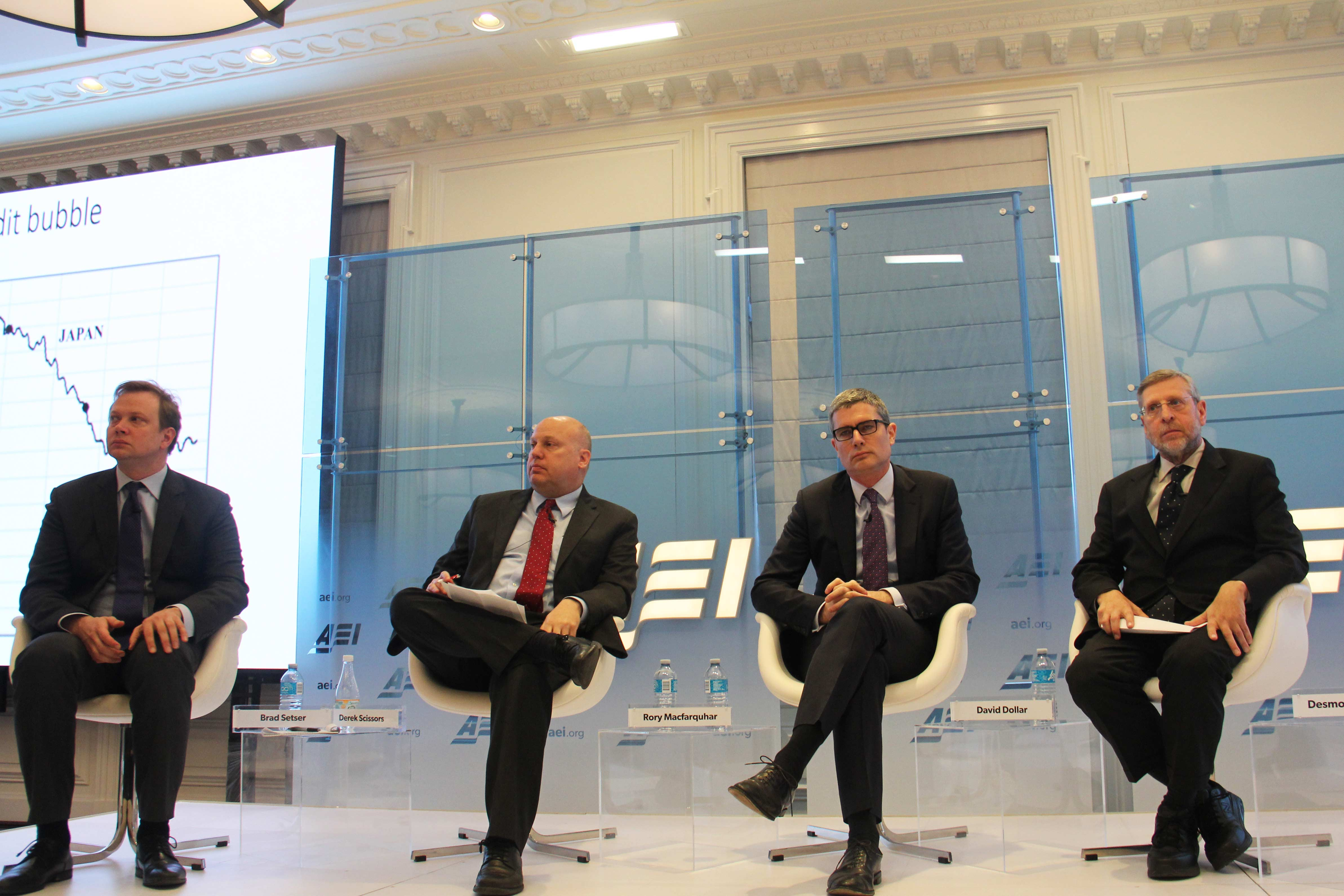 Economic experts, David Dollar, Rory Macfarquhar, Derek Scissors and Brad Setser (right to left), discuss the Trump administration's Chinese economic challenge at the American Enterprise Institute on Thursday.