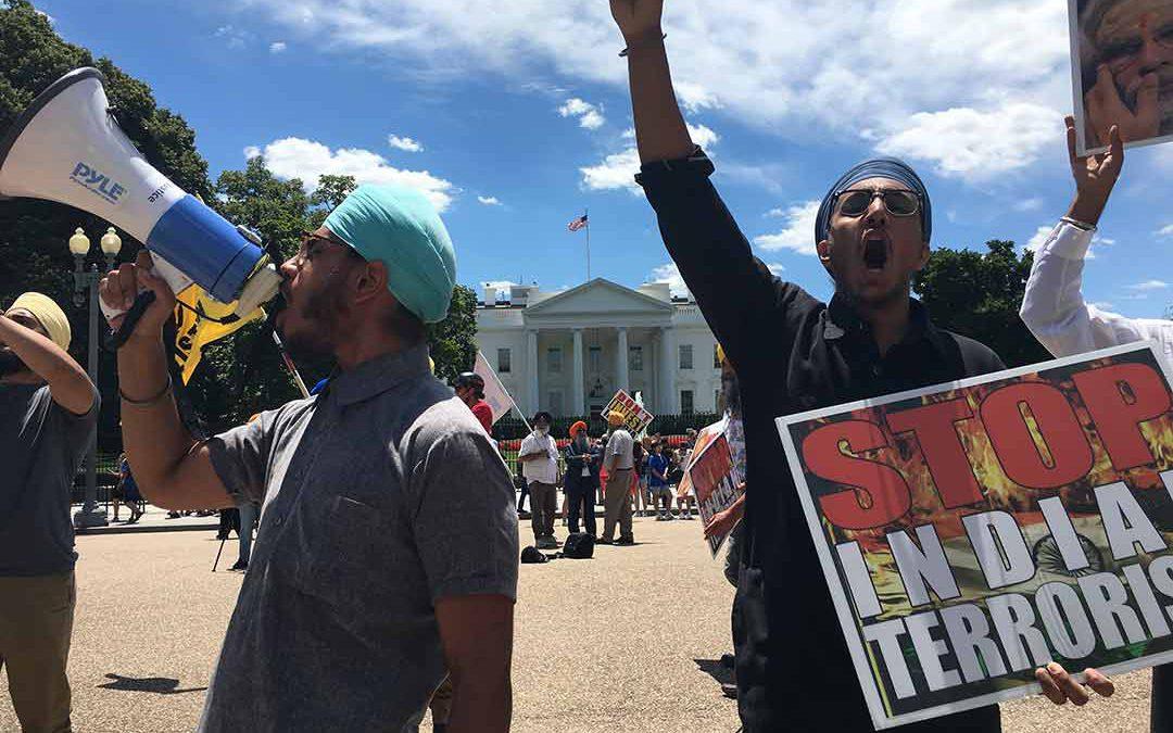 Kashmiri and Punjabi groups gather at White House to protest Modi visit