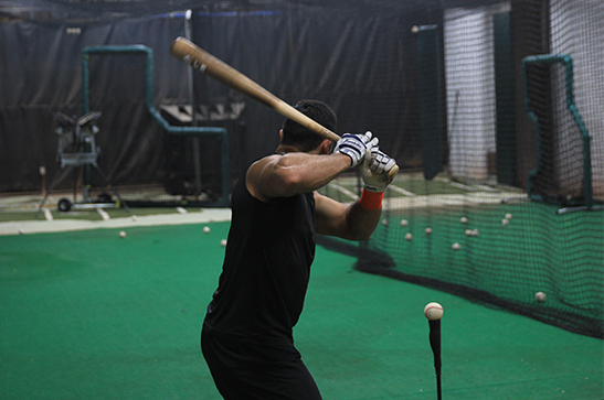 Getting some early work in the cages.