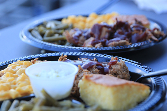 The brisket and pull pork platers