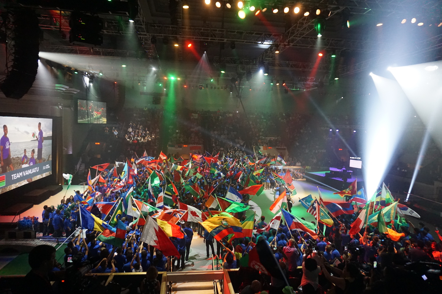 All 157 teams march out with their flags during FIRST Global's opening ceremony on Sunday. (Ritu Prasad/Medill News Service)