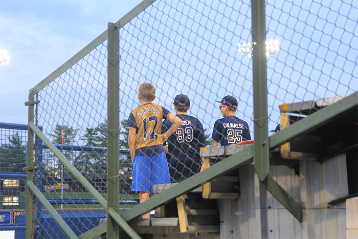 Young fans checking out the ball game.