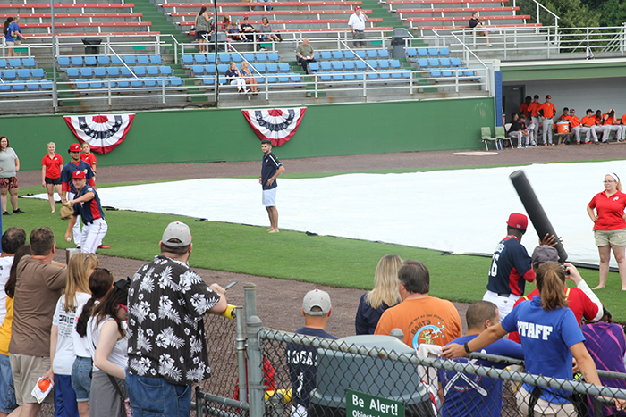 P-Nats playing a little game of foam baseball as they try to stay loose during the rain delay.