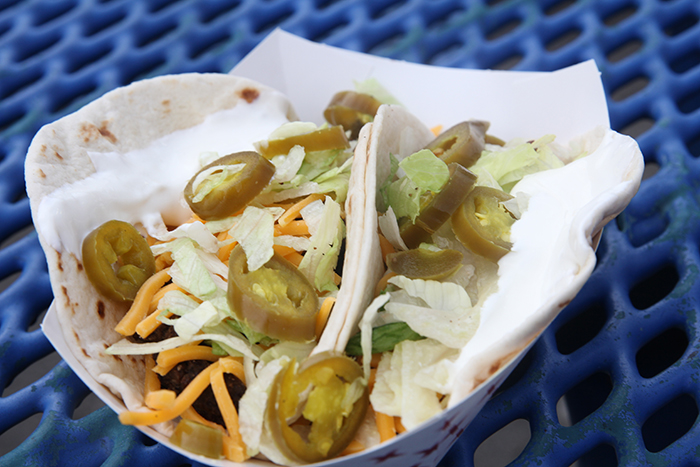 Taco Thursday? Yes, that's a thing at the Potomac National ballpark. Ground beef or steak tacos topped with lettuce, cheese, jalapeno peppers and sour cream.