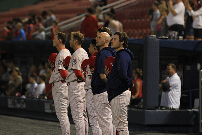The Fightin Phils during the National Anthem.