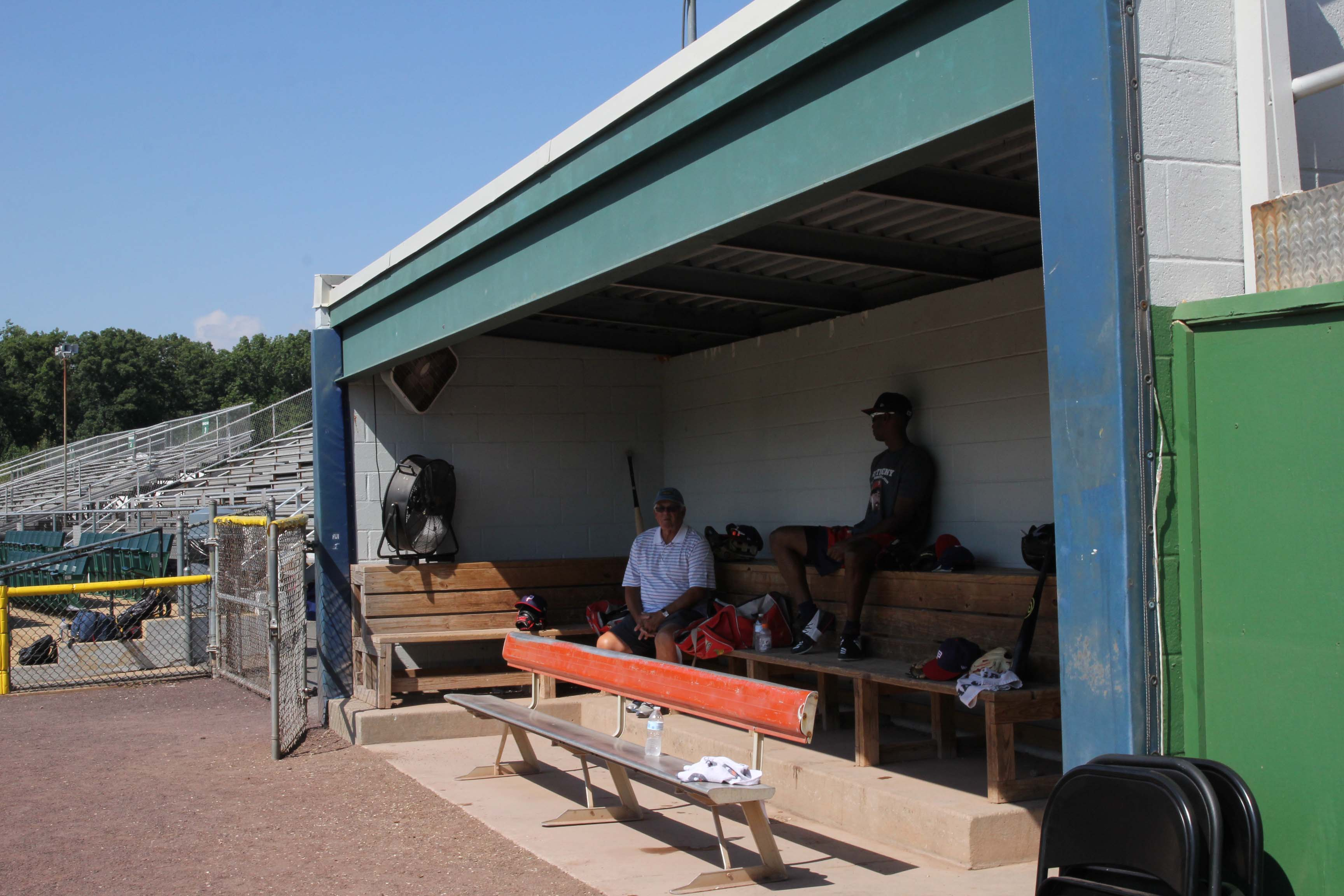 Pfitzner Stadium has small dugouts for both the home and visiting teams. (MEDILL/Jenna West)