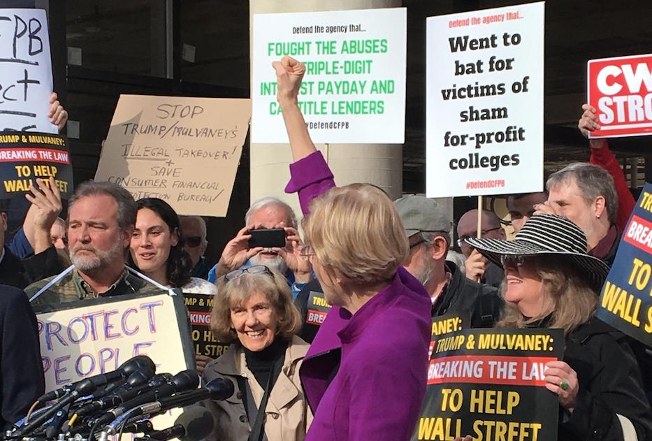Warren Demands Trump Appointee Step Down from Consumer Watchdog Agency