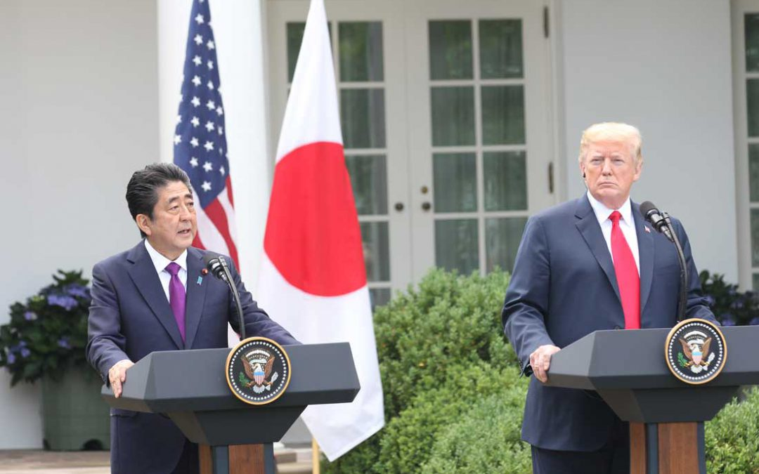 Leading up to North Korea summit, Trump meets with Japan's Shinzo Abe