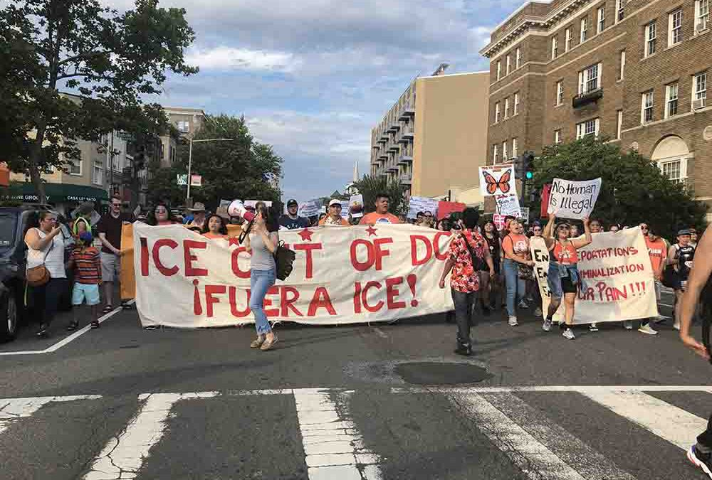Columbia Heights community rally rejects ICE in two languages
