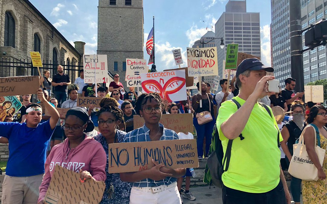 Detroit protesters: 'No hate no fear, immigrants are welcome here!'