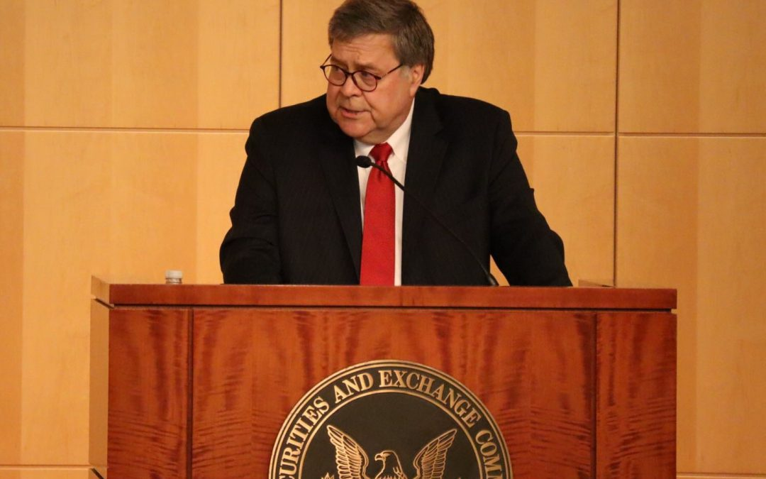 Barr touts SEC, DOJ enforcement record as corporate penalties and fines are eased by Trump administration