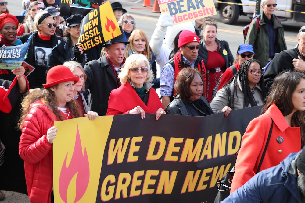 Jane Fonda, climate activists lead sixth 'Fire Drill Friday' march to Senate