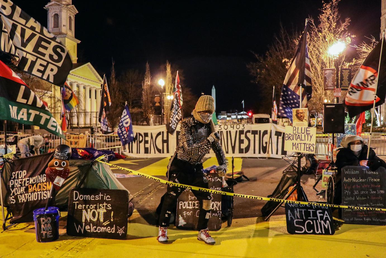 Activist in BLM Plaza at Biden inauguration