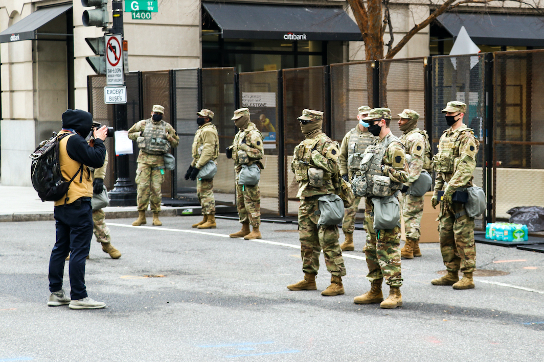 Photographer takes pictures of National Guard, Biden inauguration